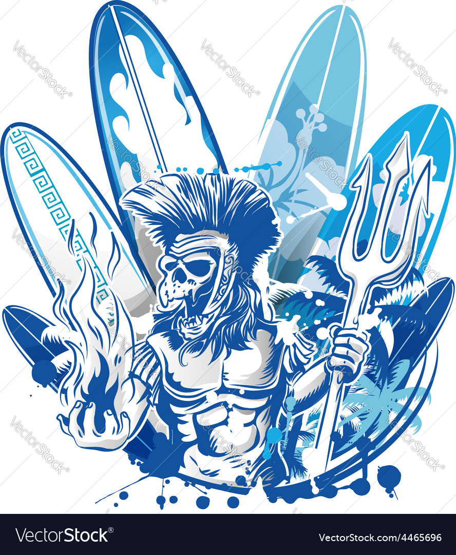 Poseidon death surfer on surfboard background vector | Price: 3 Credit (USD $3)