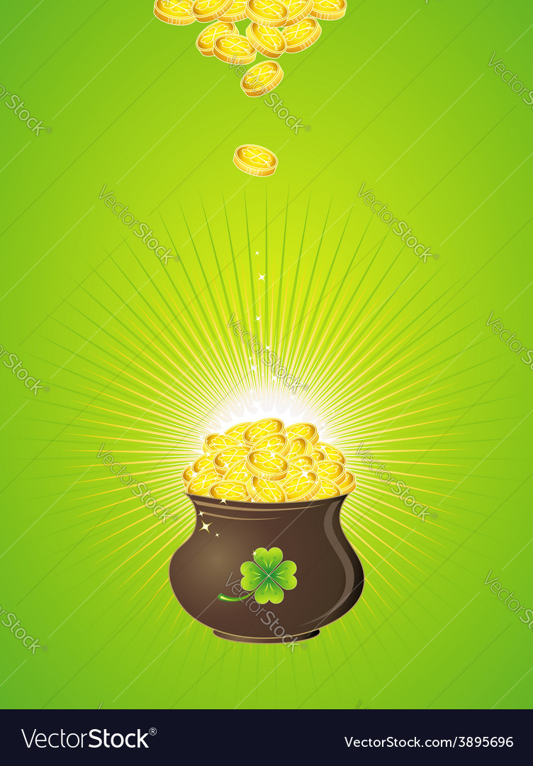 Pot with golden coins for st patricks day vector | Price: 1 Credit (USD $1)