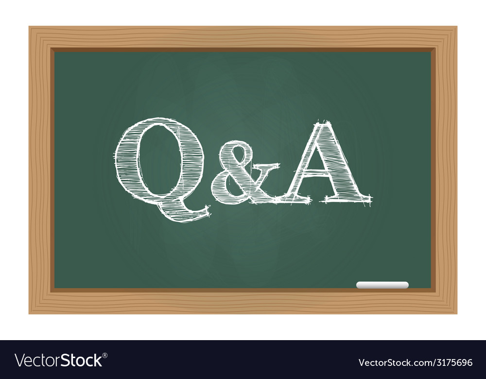 Questions and answers text on chalkboard vector | Price: 1 Credit (USD $1)