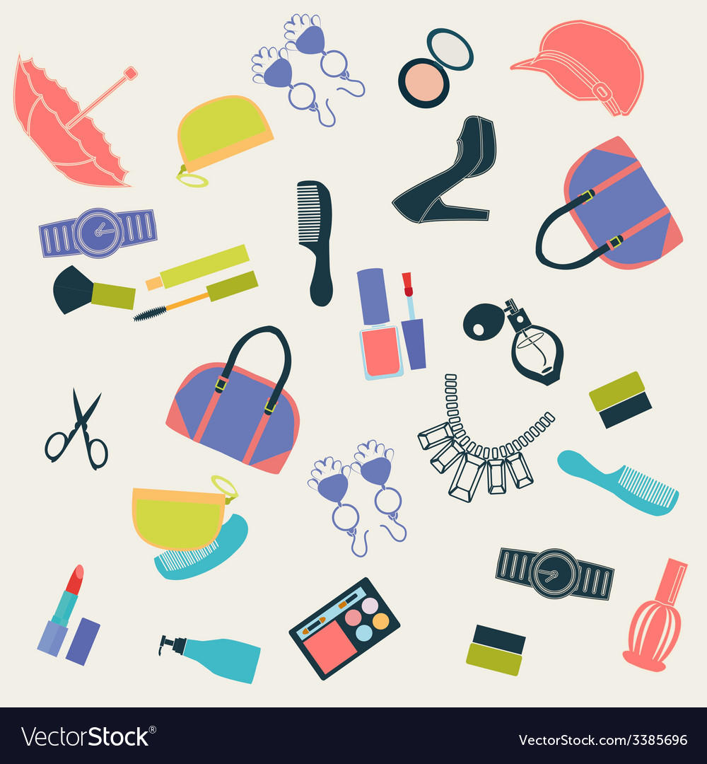 Seamless pattern with woman things- vector | Price: 1 Credit (USD $1)