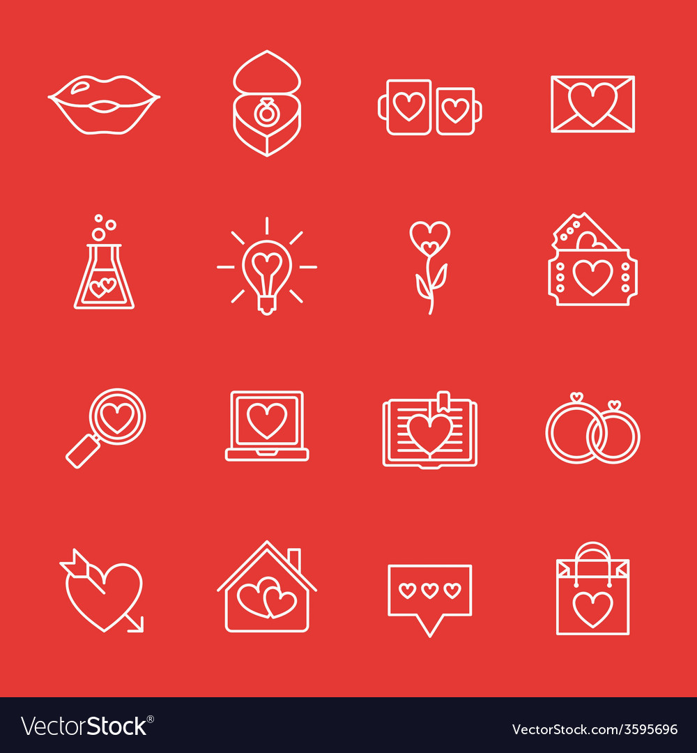 St valentines day line icon set love wedding or vector | Price: 1 Credit (USD $1)