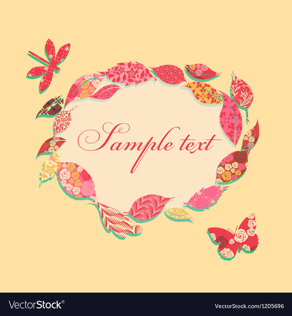 Vintage background with frame of patch leaves vector | Price: 1 Credit (USD $1)