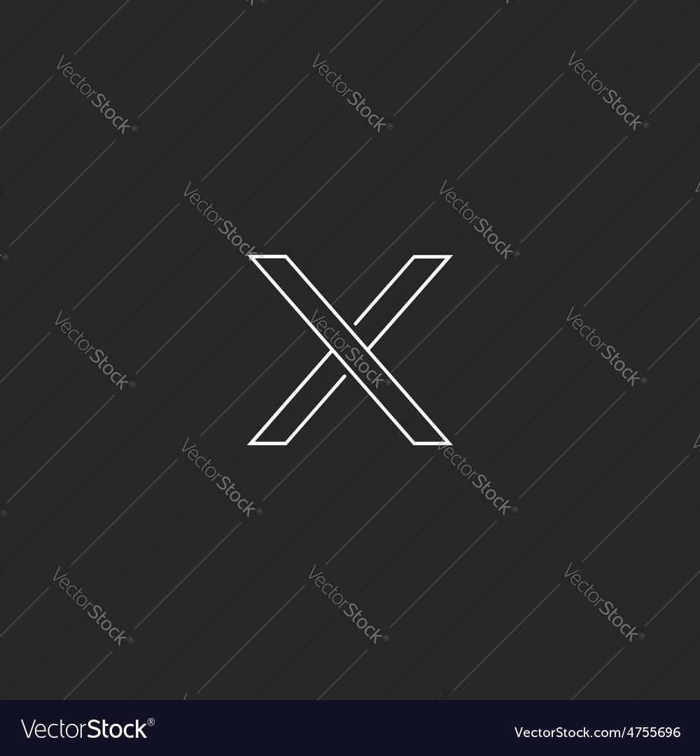 X letter minimal monogram logo hipster element vector