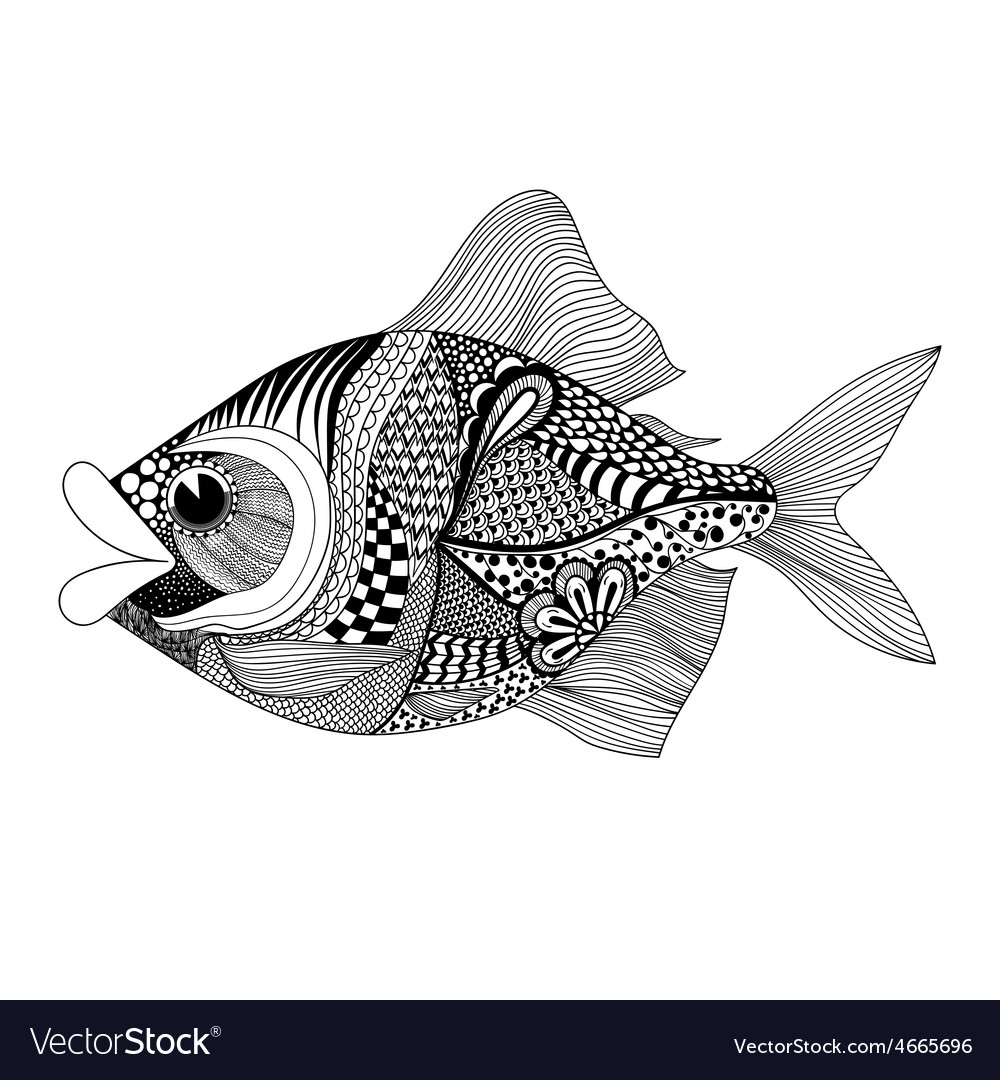 Zentangle stylized fish hand drawn doodle isolated vector | Price: 1 Credit (USD $1)