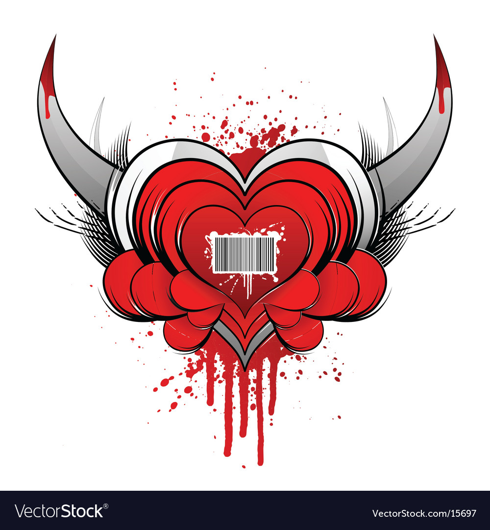 Barcode heart concept with blood vector | Price: 1 Credit (USD $1)