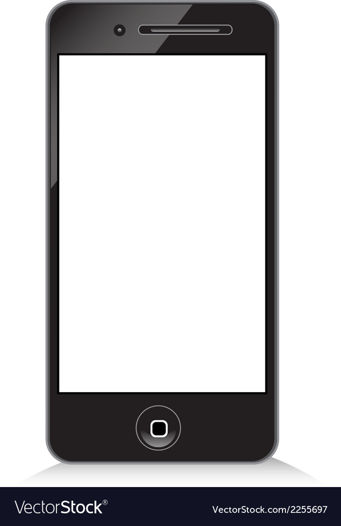 Black modern phone on white background vector | Price: 1 Credit (USD $1)
