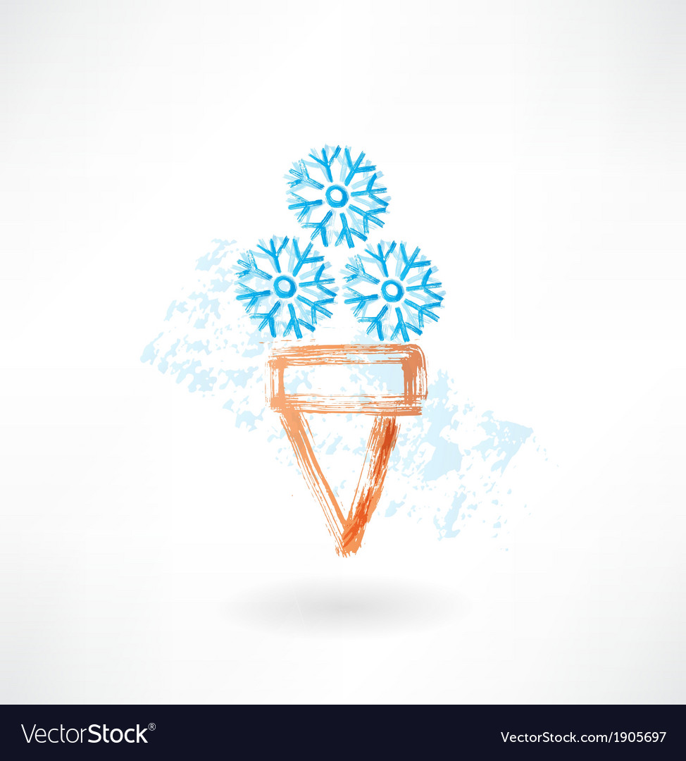 Cold ice-cream grunge icon vector | Price: 1 Credit (USD $1)