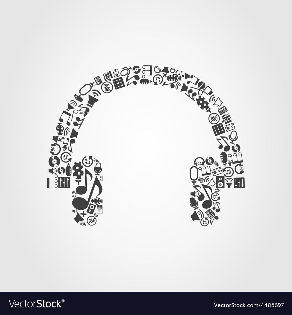 Earphone music vector | Price: 1 Credit (USD $1)