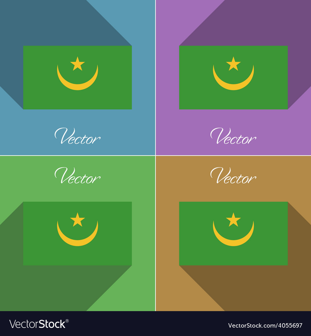Flags mauritania set of colors flat design and vector | Price: 1 Credit (USD $1)