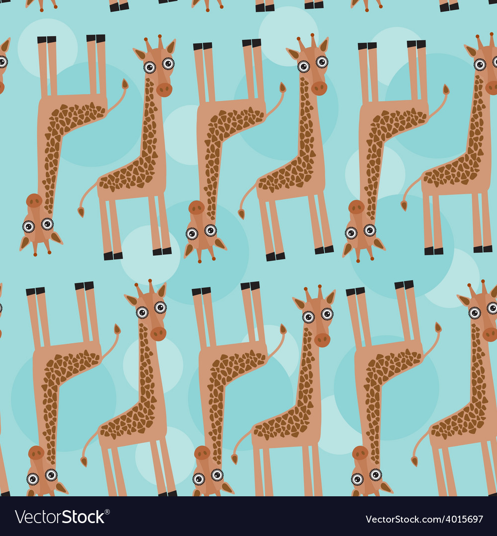 Giraffe seamless pattern with funny cute animal on vector | Price: 1 Credit (USD $1)