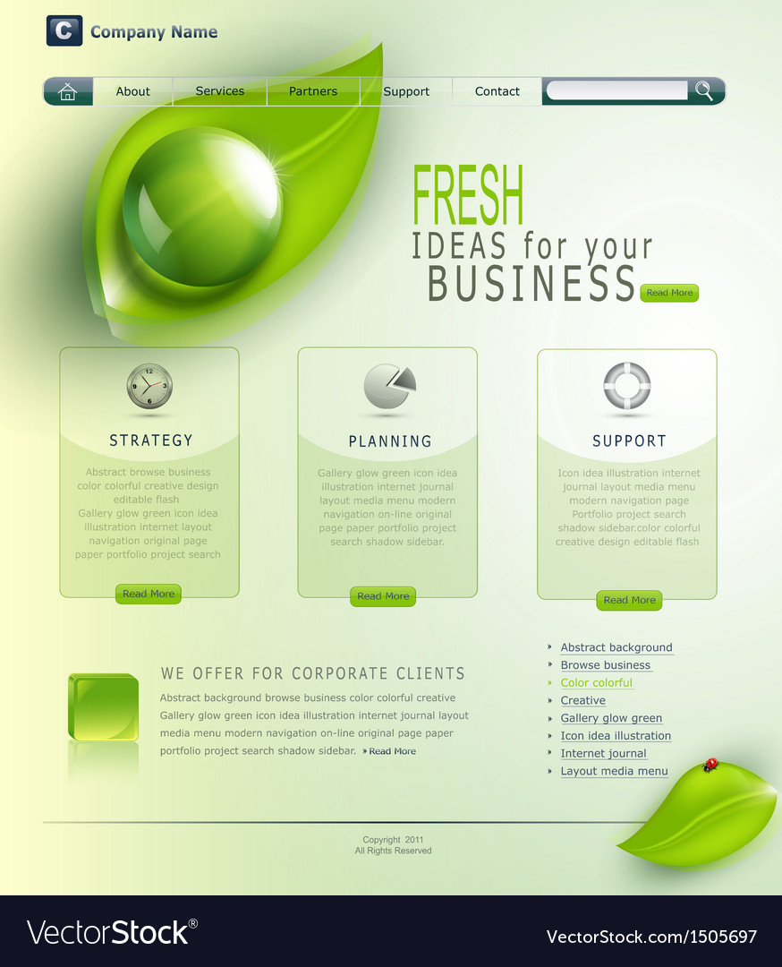 Green website vector | Price: 1 Credit (USD $1)