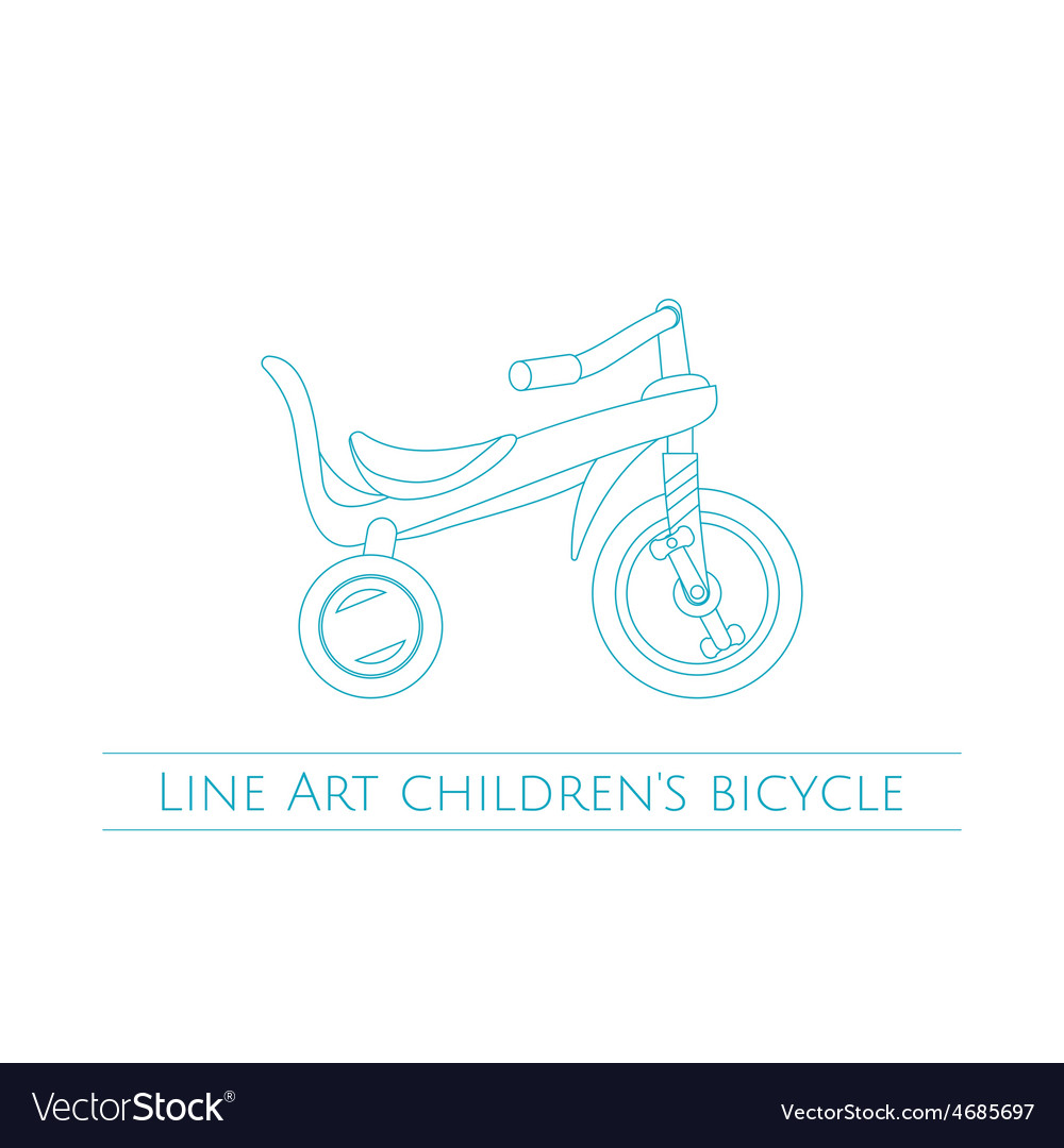 Line art childrens bicycle two vector | Price: 1 Credit (USD $1)