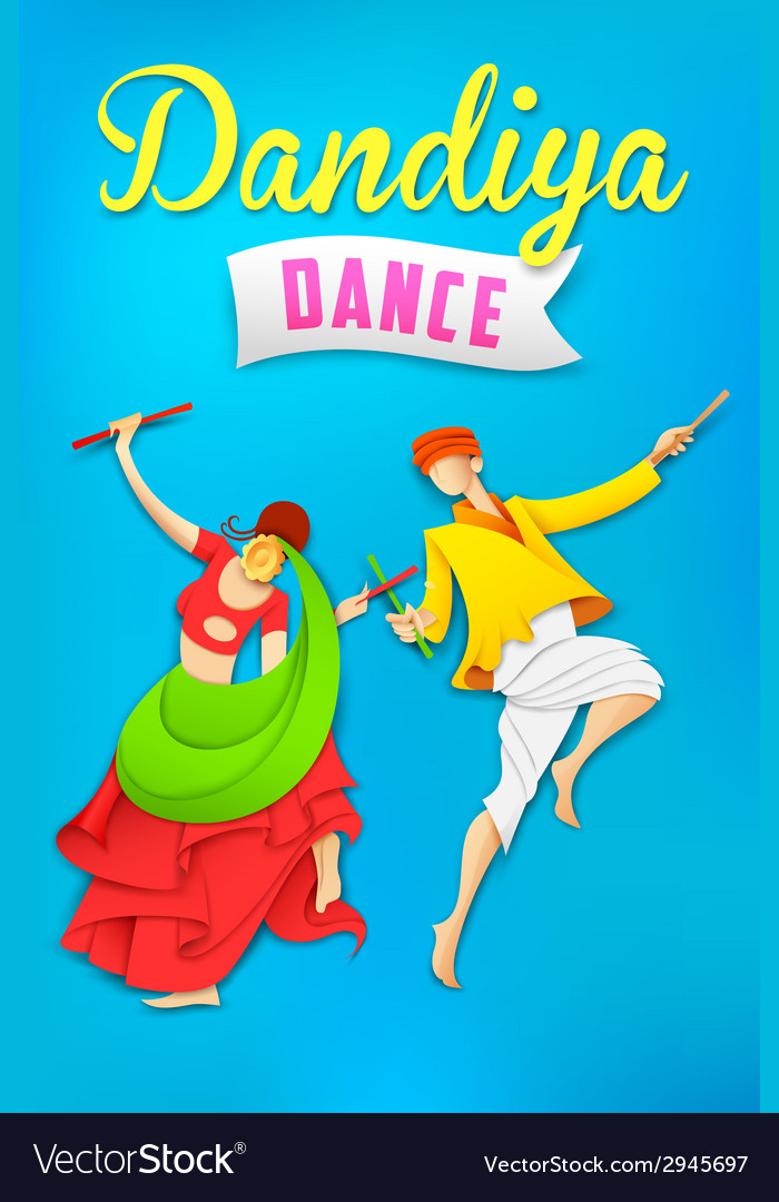 Man and woman playing dandiya dancing garba vector | Price: 1 Credit (USD $1)