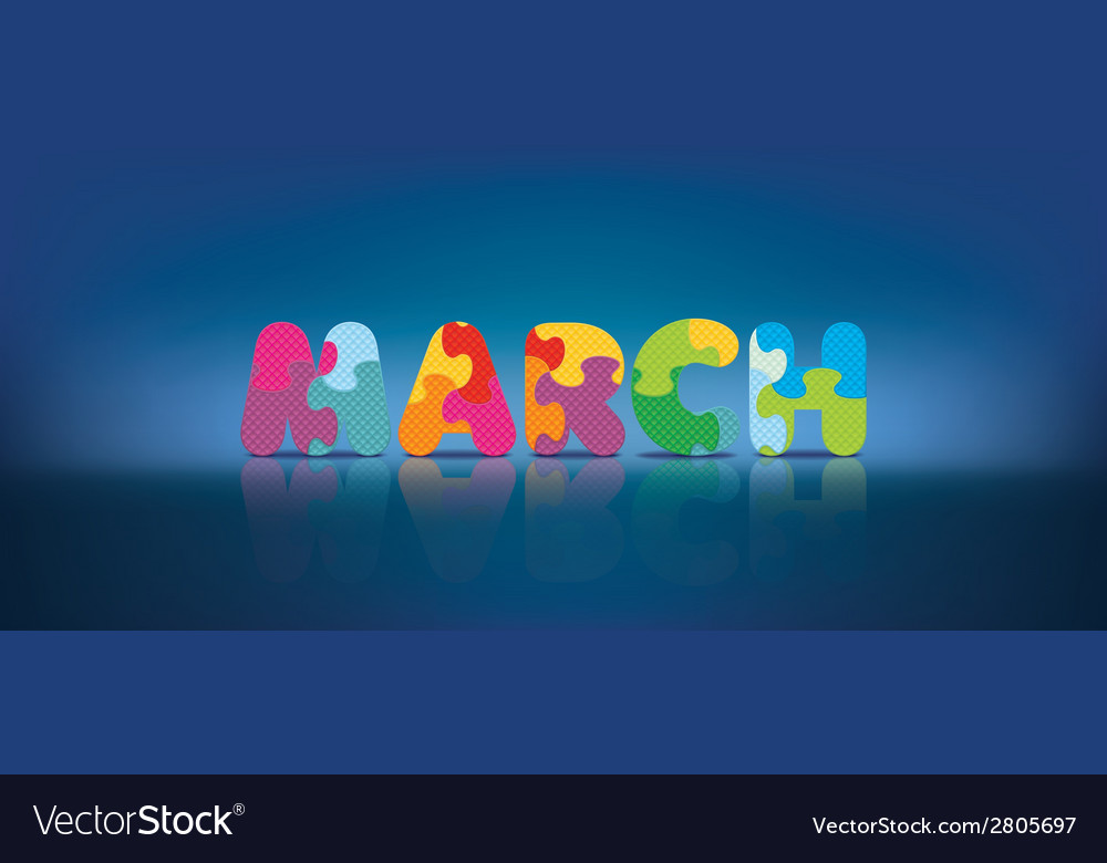 March written with alphabet puzzle vector | Price: 1 Credit (USD $1)