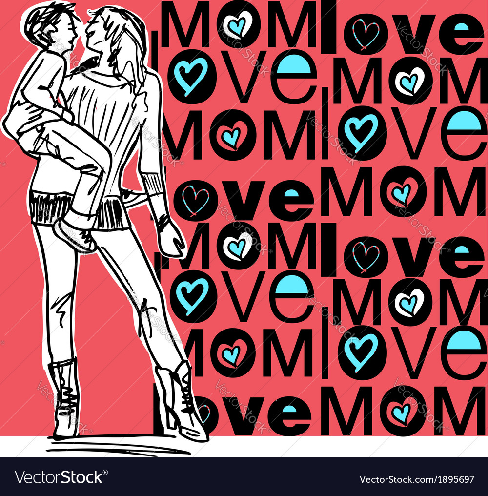 Mom love vector | Price: 1 Credit (USD $1)
