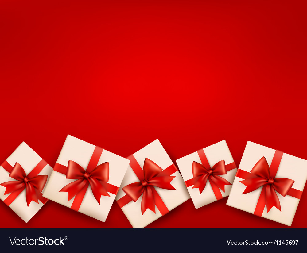 Red holiday background with gift boxes and red bow vector | Price: 1 Credit (USD $1)