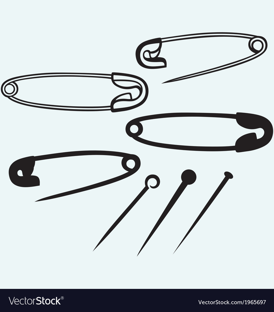 Safety pin collection of various pushpin vector | Price: 1 Credit (USD $1)