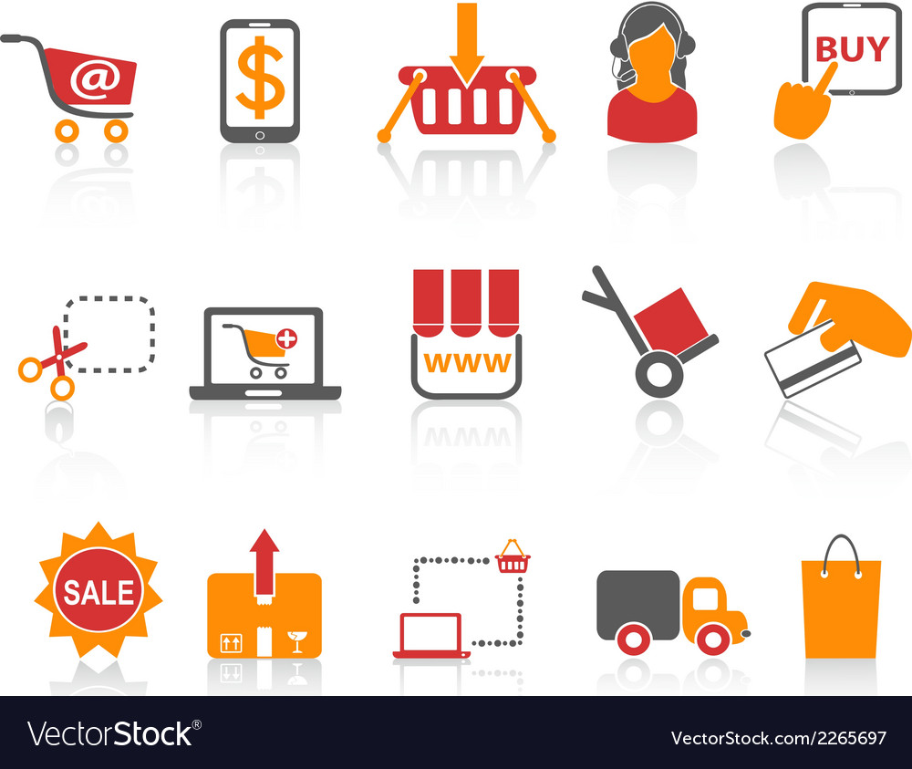 Shopping online icons orange series vector | Price: 1 Credit (USD $1)
