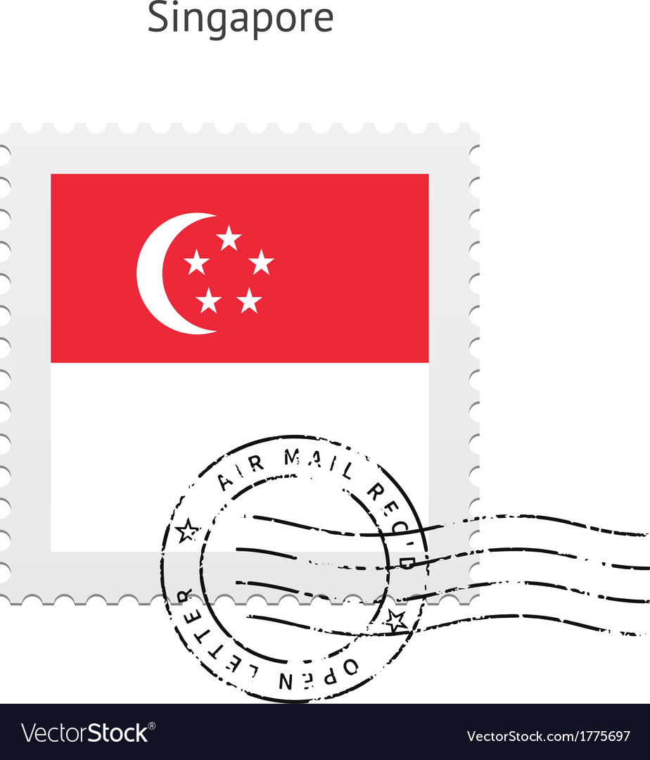 Singapore flag postage stamp vector
