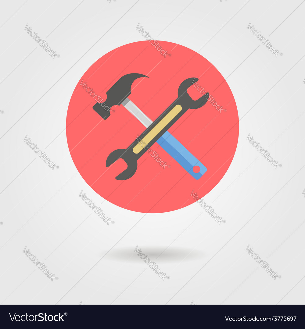 Wrench and hammer in circle with shadow vector | Price: 1 Credit (USD $1)