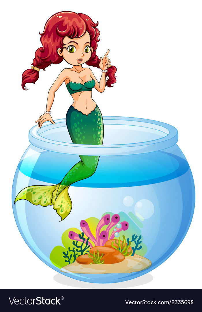 A mermaid inside the aquarium vector | Price: 3 Credit (USD $3)