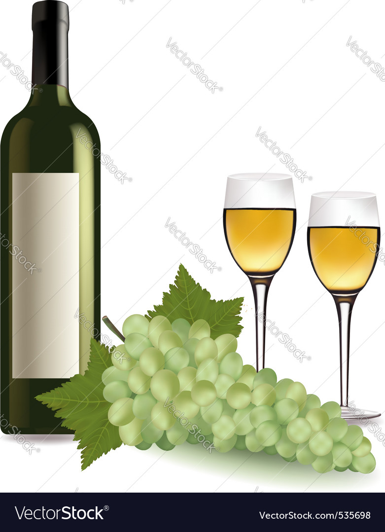 A wine bottle and grapes vector | Price: 3 Credit (USD $3)