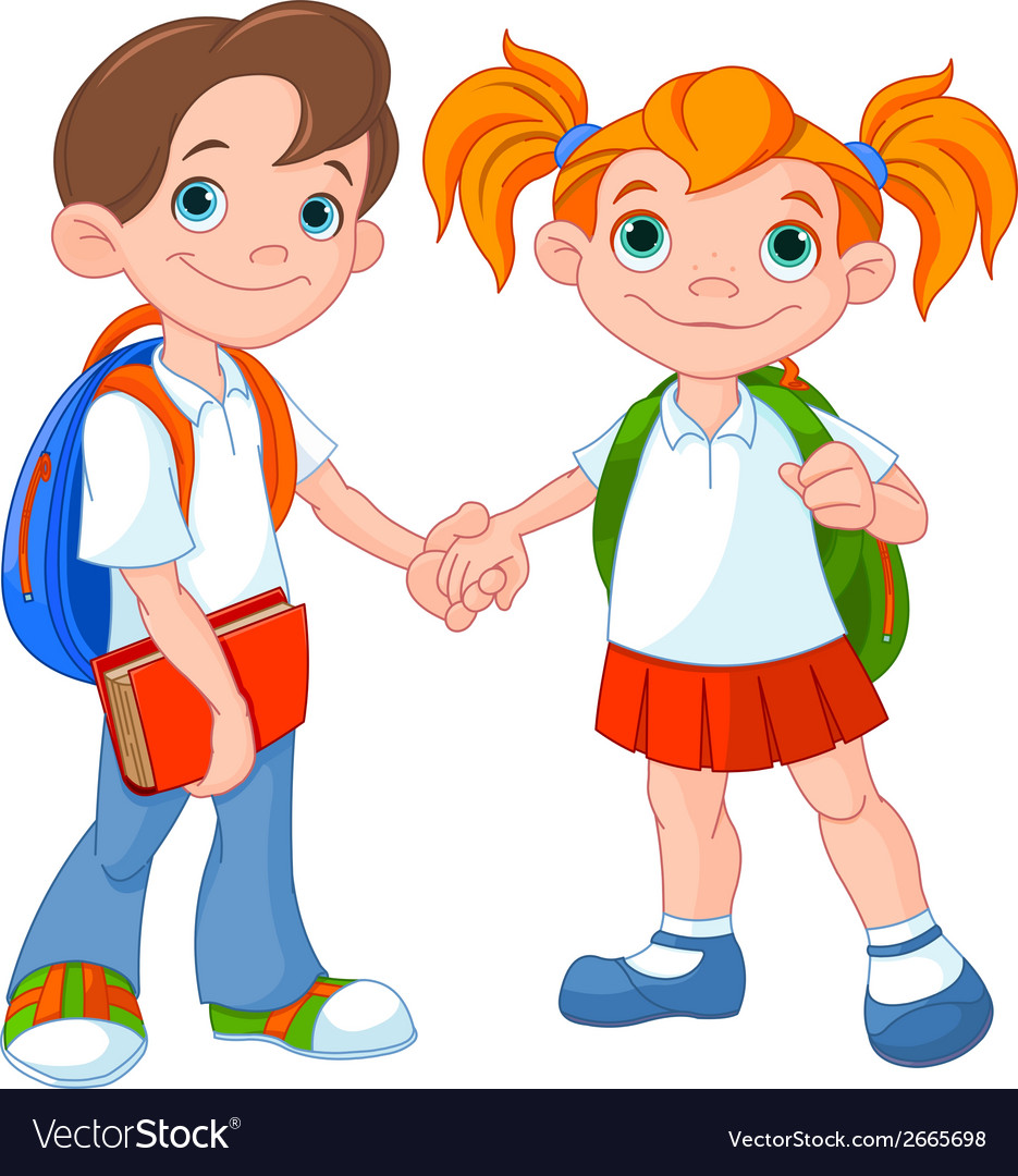 Boy and girl ready to school vector | Price: 1 Credit (USD $1)