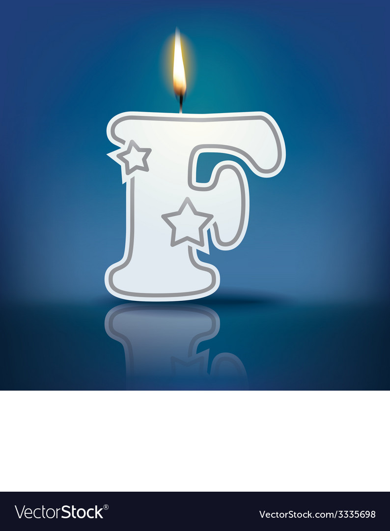 Candle letter f with flame vector   Price: 1 Credit (USD $1)