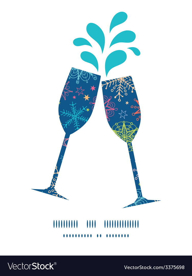Colorful doodle snowflakes toasting wine glasses vector | Price: 1 Credit (USD $1)