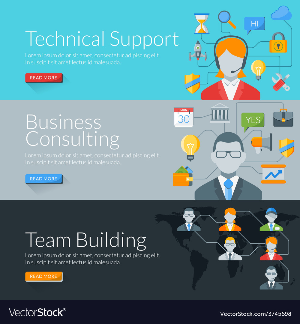 Flat design concept for technical support business vector | Price: 1 Credit (USD $1)