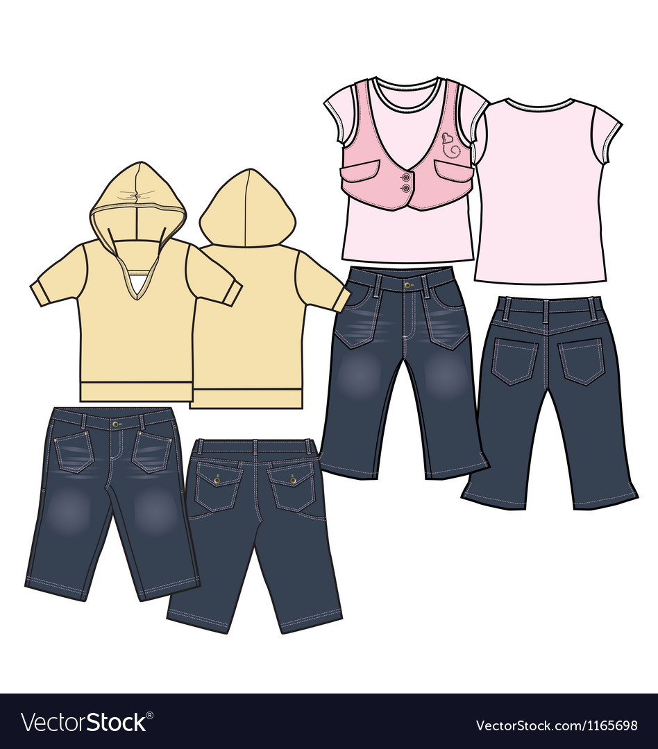 Girls fashion casual wear set vector | Price: 1 Credit (USD $1)