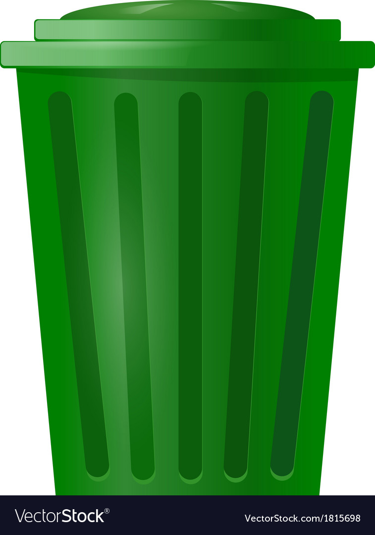 Green bin for garbage on white background vector | Price: 1 Credit (USD $1)