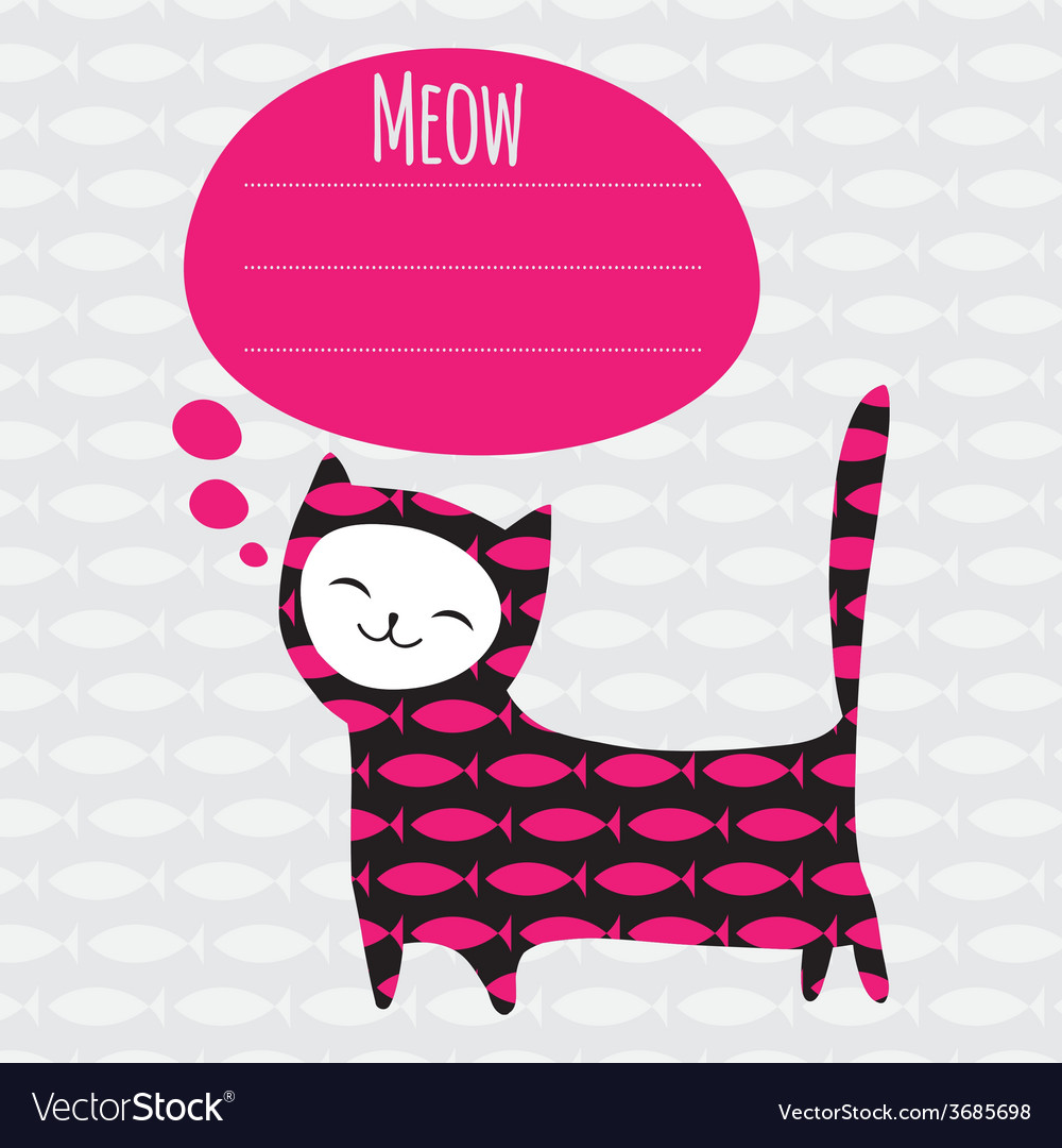 Greeting card with cat vector | Price: 1 Credit (USD $1)