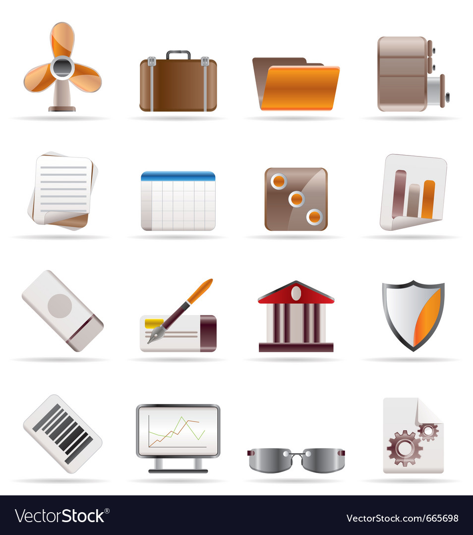 Realistic business and office icons vector | Price: 1 Credit (USD $1)