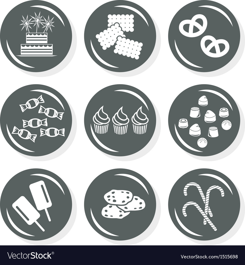 Sweet birthday cake icons vector | Price: 1 Credit (USD $1)