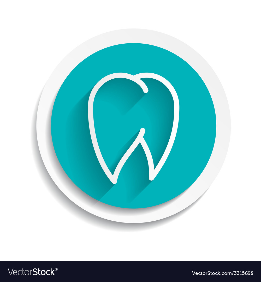 Tooth icon white dental vector | Price: 1 Credit (USD $1)