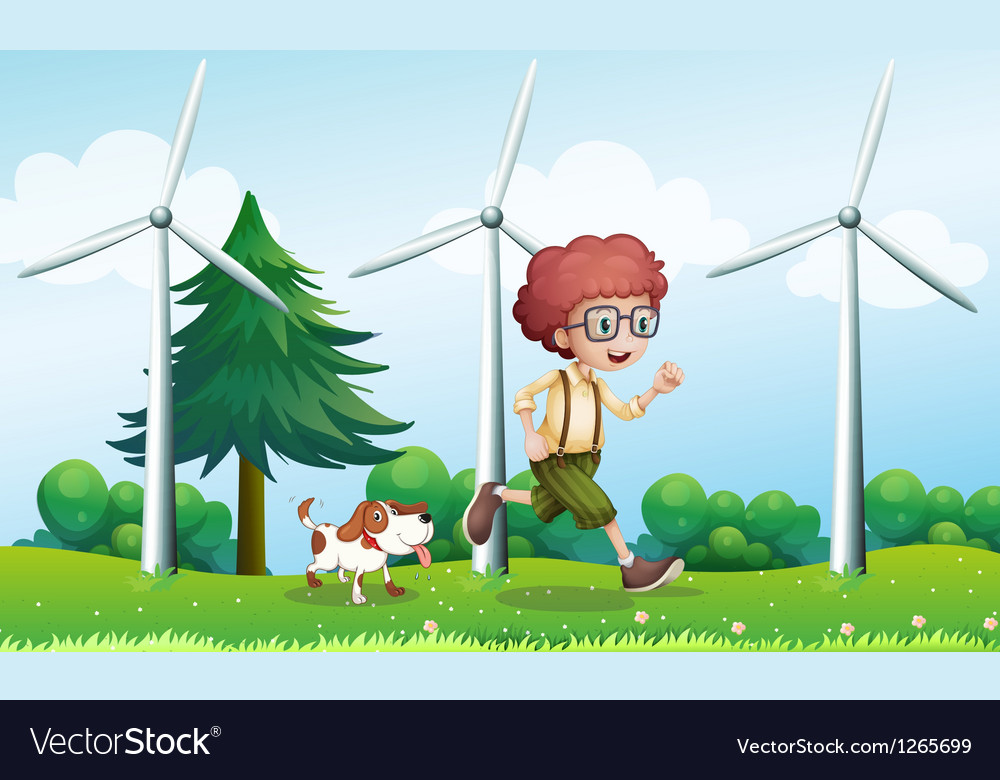 A boy running with a dog near the three windmills vector | Price: 1 Credit (USD $1)