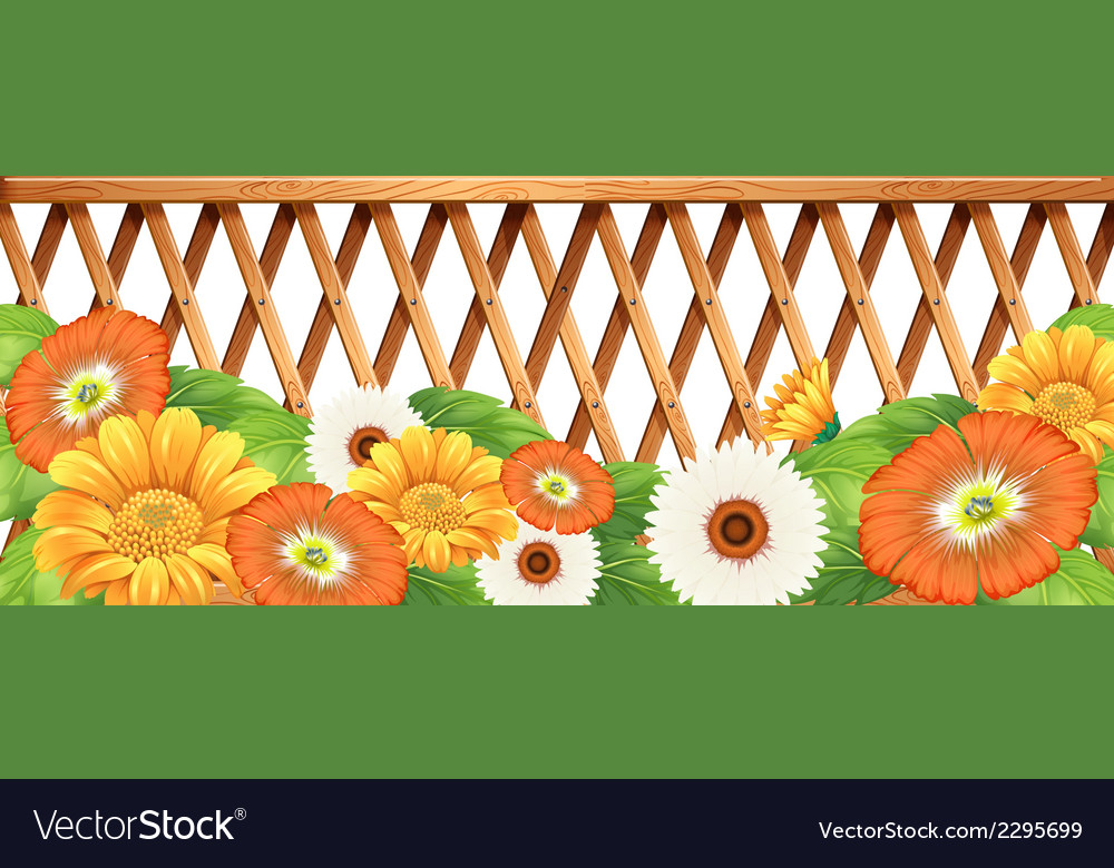 A fence with flowers vector | Price: 1 Credit (USD $1)