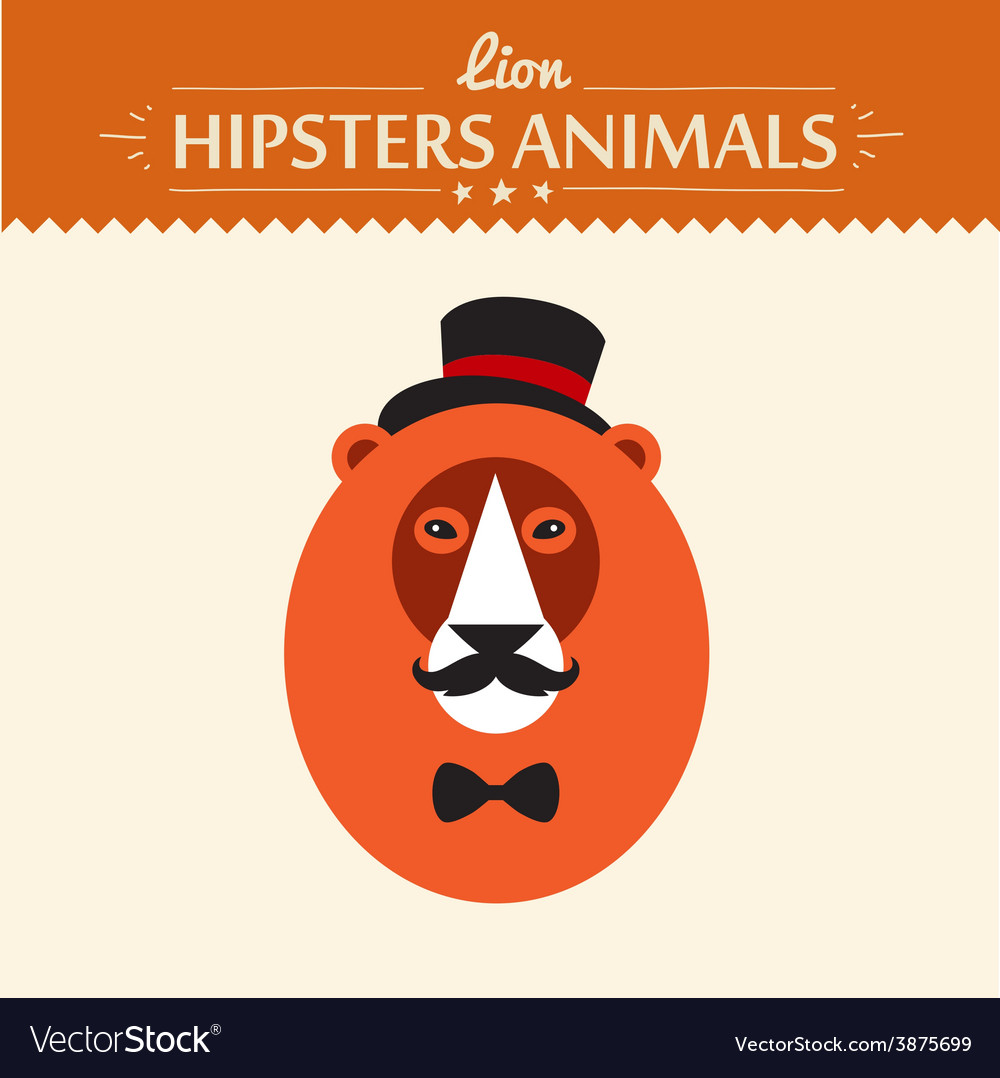 Abstract on lion head hipster style vector | Price: 1 Credit (USD $1)