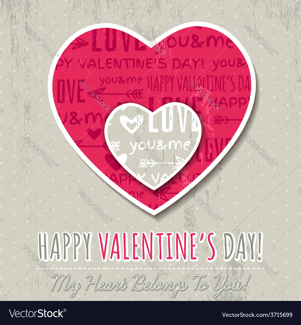 Background with two valentine hearts vector | Price: 1 Credit (USD $1)