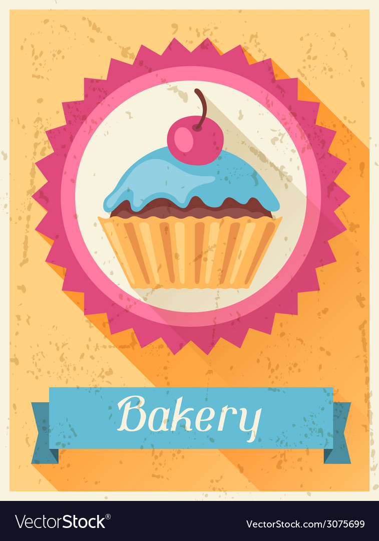 Bakery retro poster background design in flat vector | Price: 1 Credit (USD $1)