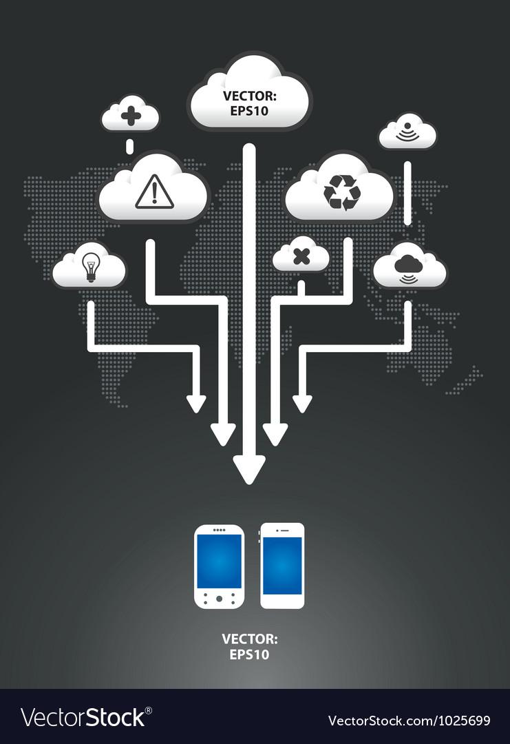 Cloud infographic arrow graph vector | Price: 1 Credit (USD $1)