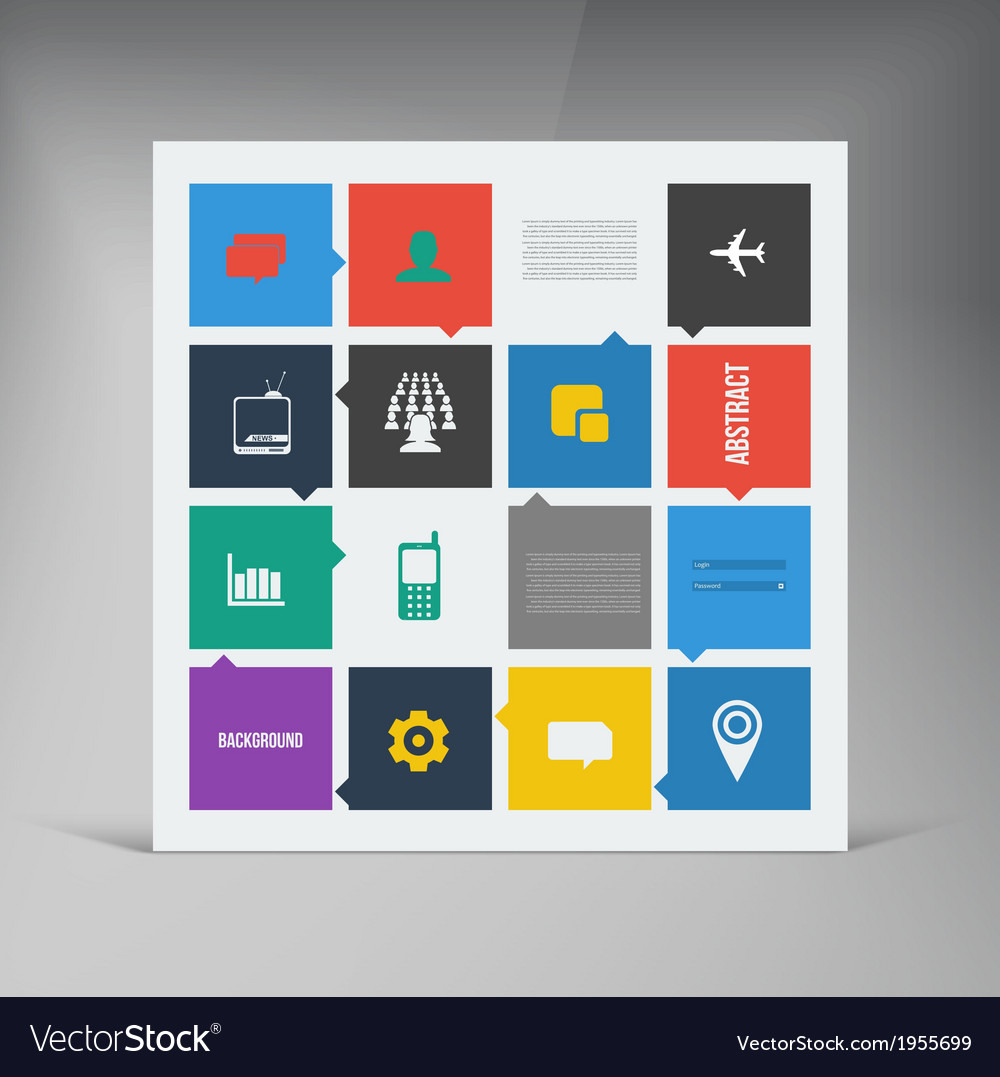 Flat ui design trend icons vector | Price: 1 Credit (USD $1)