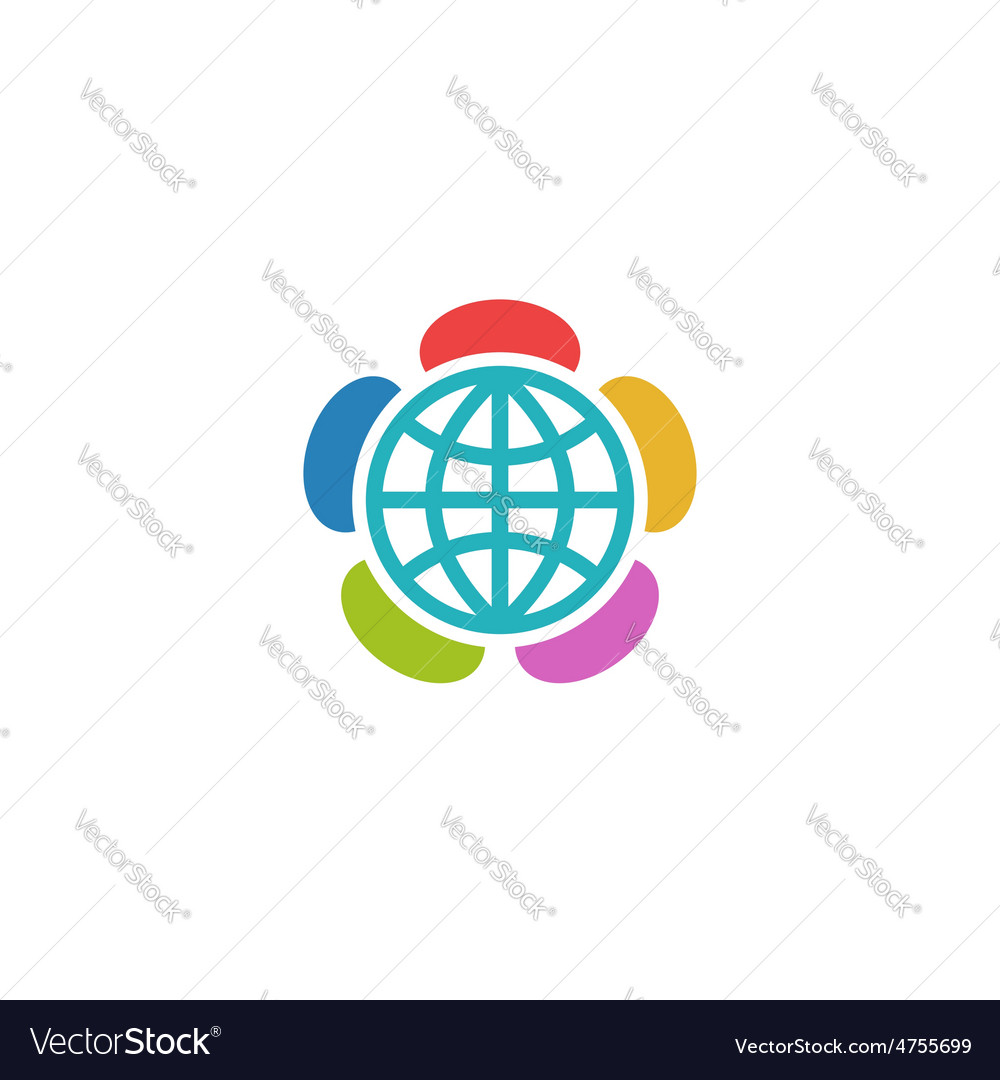 Globe flower colorful logo charitable foundation vector | Price: 1 Credit (USD $1)