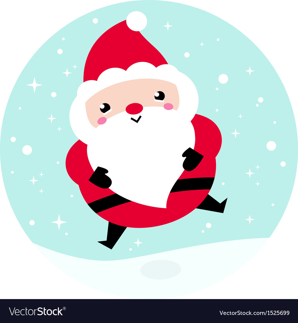 Kawaii christmas santa on snowing background vector | Price: 1 Credit (USD $1)