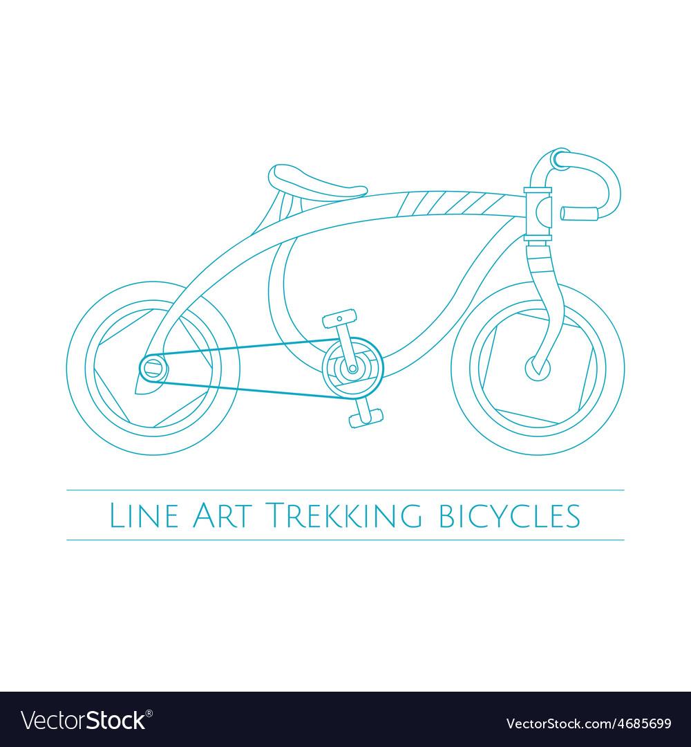 Line art trekking bicycles one vector | Price: 1 Credit (USD $1)