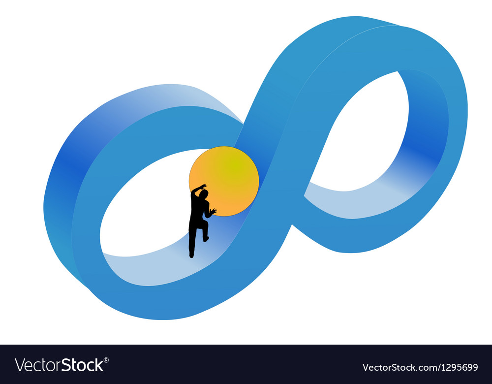 The man pushing the ball up the hill vector   Price: 1 Credit (USD $1)