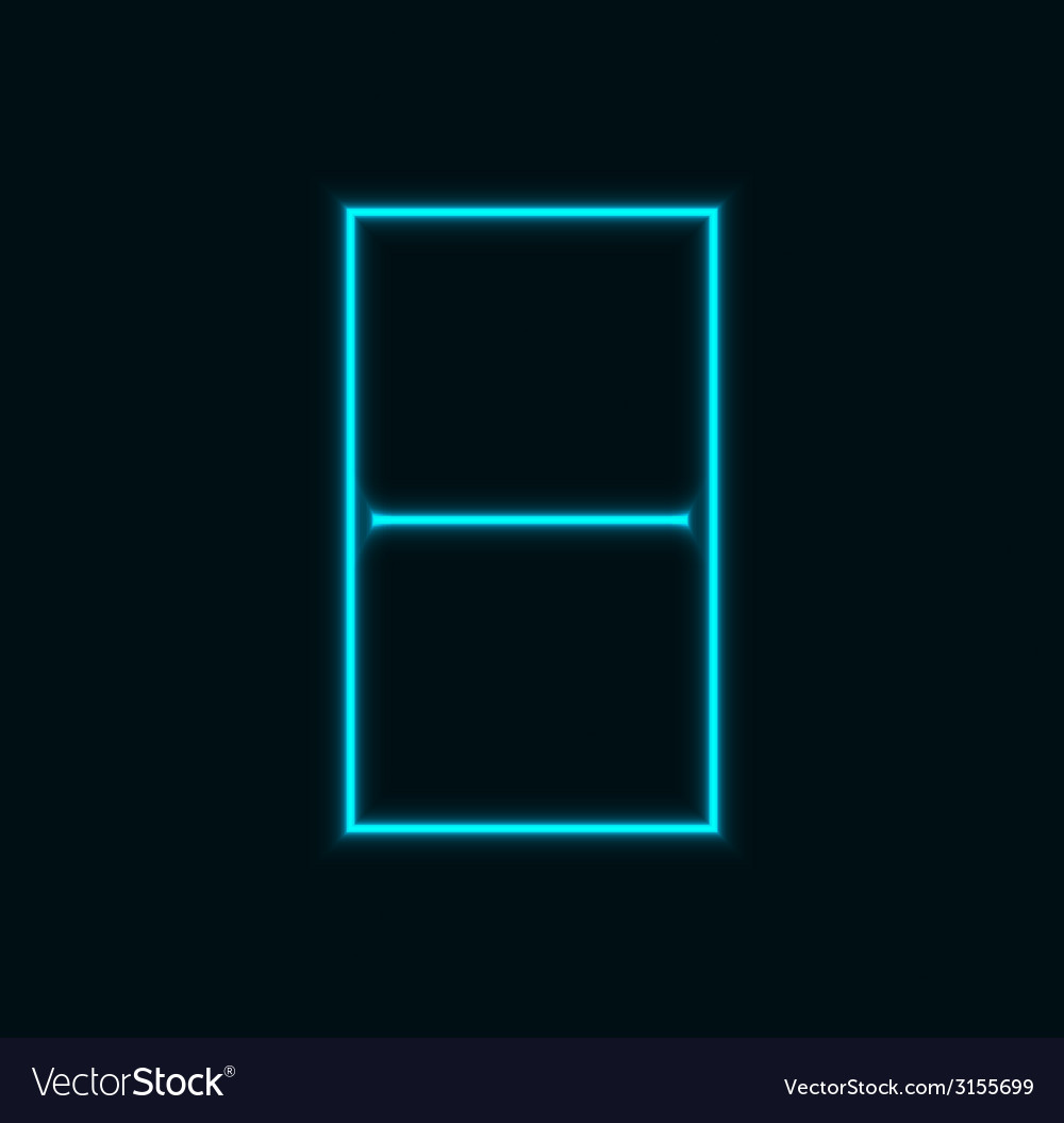 Modern neon number on black background vector | Price: 1 Credit (USD $1)