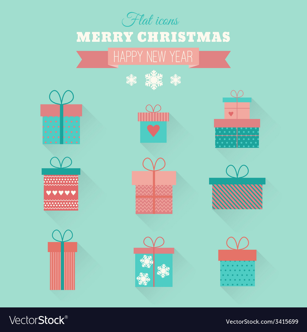 Set flat gift icons vector | Price: 1 Credit (USD $1)