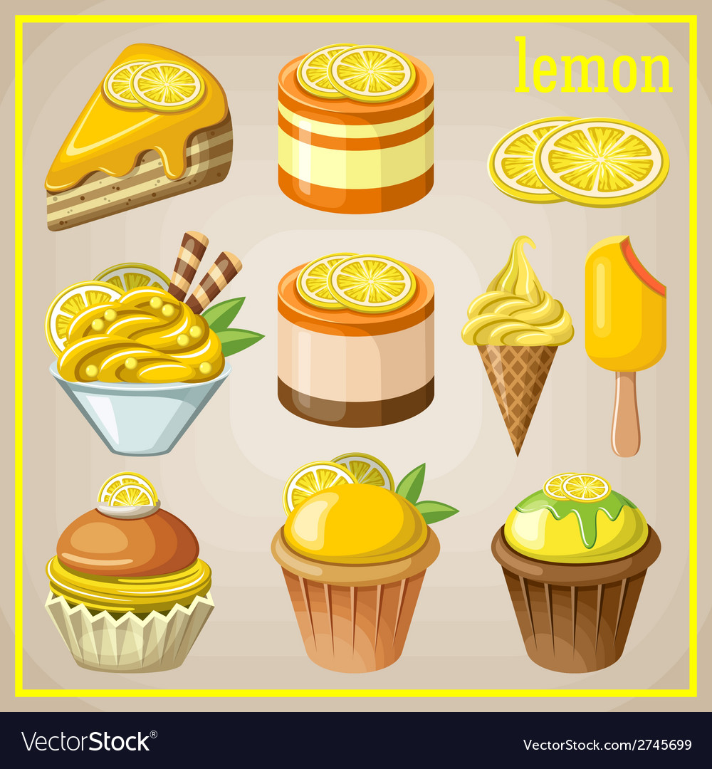 Set of sweets with lemon vector | Price: 3 Credit (USD $3)